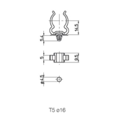 Einsteck - Lampenhalter für T5/16mm Lampen aus Polycarbonat - 1