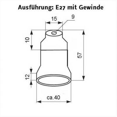 Keramik-Fassung E27, Renovierungsfassung mit Gewinde M10 - 1