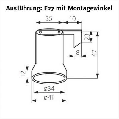 Keramik-Fassung E27 mit Metallbefestigungswinkel - 1