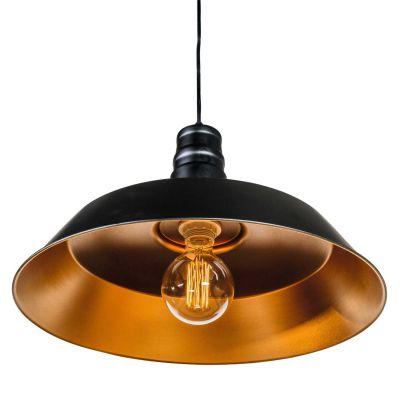 Pendelleuchte, Deckenleuchte Ø360mm, Leuchtenschirm aus Metall schwarz/goldkupfer - 1
