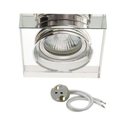 einbaustrahler spot glas gx5 3 gu5 3 fassung einbaulampe deckeneinbauleuchte klar silber arnolicht. Black Bedroom Furniture Sets. Home Design Ideas