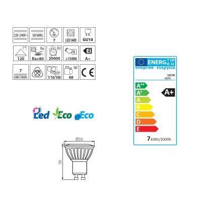 7W LED Spot, GU10 Strahler warmweiss, LED Lampe, LED-Licht - 1