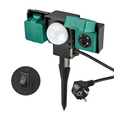 Gartensteckdose 2-fach für den Außenbereich mit Tag / Nacht Sensorsteuerung, IP54 - 1