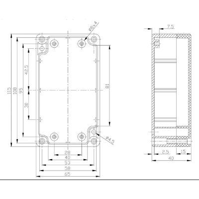 ABS Kunststoffgehäuse 65 x 115 x 40 mm - 1