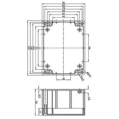 ABS Kunststoffgehäuse 90 x 115 x 55 mm - 1