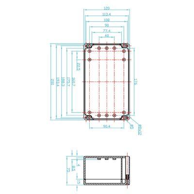 ABS Kunststoffgehäuse 120 x 200 x 75 mm - 1