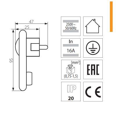 flacher Netzstecker, Winkelstecker PLUG Schutz-STECKER Extraflach - 1
