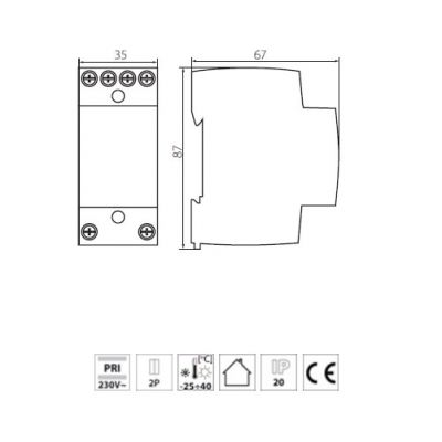 Klingeltransformator Klingeltrafo 8, 12 oder 24V - 1
