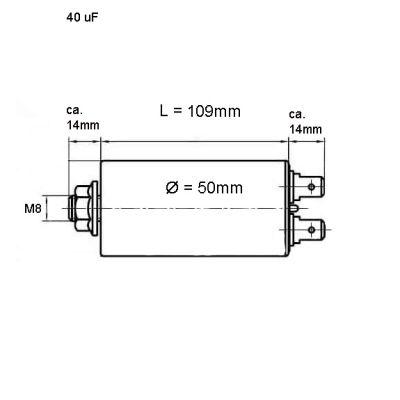 40.0 uF Betriebskondensator Motorkondensator 40,0µF, 450 V - 1