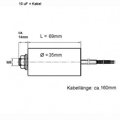 10.0 uF Betriebskondensator Motorkondensator 10µF, 450 V, Kabel - 1