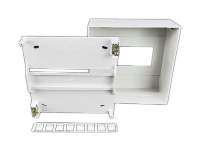 Verteiler mit DIN-Schiene Schaltschrank Schaltkasten 8 Module 160x160x65 mm - 1