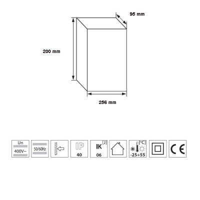Verteiler mit DIN-Schiene Schaltkasten Verteilerschrank 12 Module 256x200x95 mm - 1