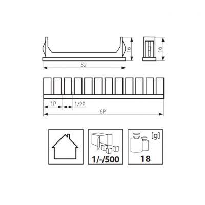 10 Abdeckstreifen, Blindstopfen für Verteiler der DB-Serie für 60 Modulplätze - 1