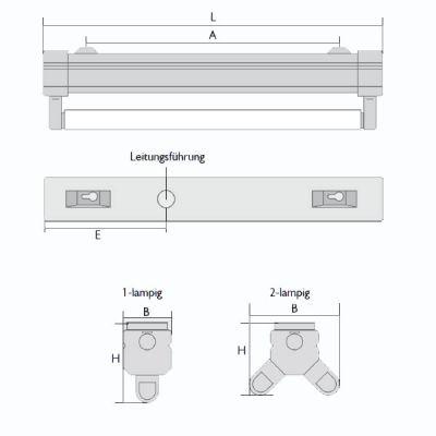 Lichtschiene, Leuchte, Lichtleiste T8 2x58 Watt, EVG, IP20 weiß - 1