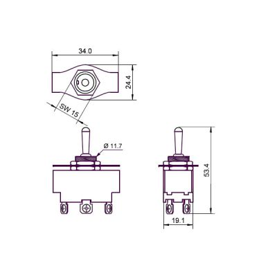 Kippschalter Miniatur (2xEIN-AUS-EIN, Schraubanschlüsse) 250 V AC - 1