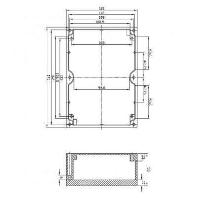 Alu Spritzguss Gehäuse, Aluminiumgehäuse, Platinengehäuse, LED Gehäuse 171x121x55mm - 1