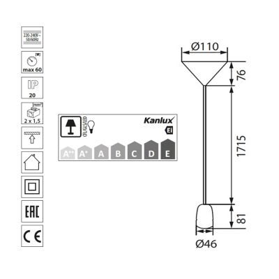 Schnurpendel Leuchtenpendel, Deckenlampe, Lampenfassung, Porzellan, schwarz/weiss, E27 - 1