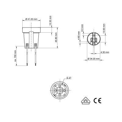 Keramik-Fassung E27 Lampenfassung mit Kabel / Zwillingslitze - 1