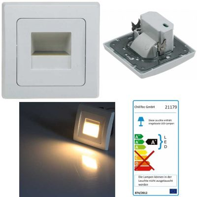 LED-Einbauleuchte weiß 80x80mm, 3000k, warmweiß,Treppenlicht, Treppenlampe - 1