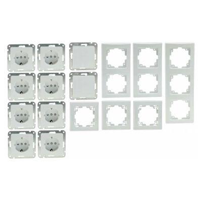 16-teiliges UP Steckdosen Starter-Kit, weiß, 8x Steckdose, 2x Schalter + versch. Rahmen - 1