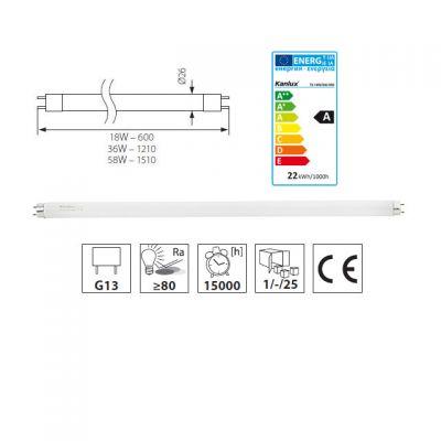 18 Watt Leuchtstofflampe 840 4000K neutralweiss nw Leuchtstoffröhre 18W/840 - 1