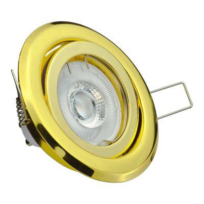 Halogen/LED Einbaurahmen MR-16, GU10 Gx5,3 - gold glänzend Einbauspot, Einbaustrahler - 1