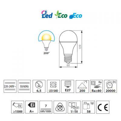 6,5 Watt LED Lampe, E27 Sockel, universalweiss, LED Birne 4000K - 1