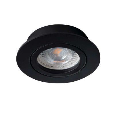 Deckeneinbaustrahler rund, schwarz, für LED / Halogenlampen Sockel GX5.3 - 1