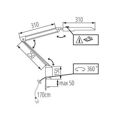 LED Schreibtischlampe, Klemmleuchte, Büroleuchte, schwenkbar, weiß - 1