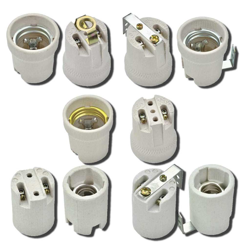 Fassung Keramik E27 E14 Lampenfassung Bügel Winkel Innengewinde LED Sockel NEU
