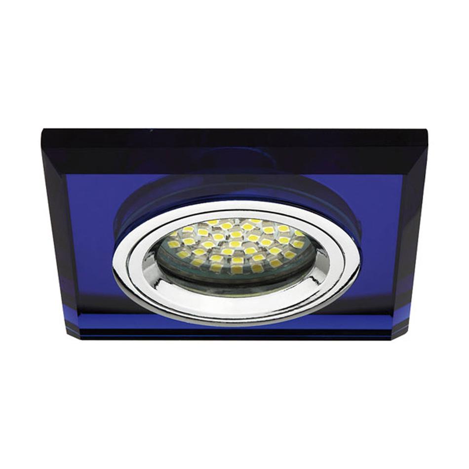deckeneinbaustrahler spot glasleuchte lampe quadrat gu5 3 gx5 3 led halogen blau ebay. Black Bedroom Furniture Sets. Home Design Ideas