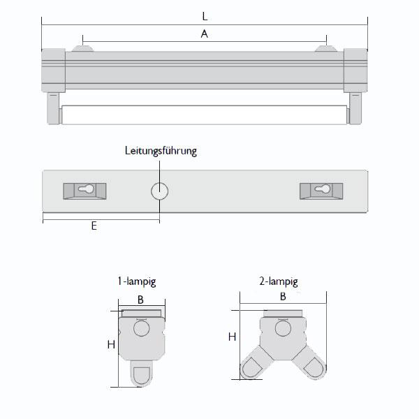 lichtleiste leuchte fassung fuer t8 1x18w leuchtstofflampe. Black Bedroom Furniture Sets. Home Design Ideas