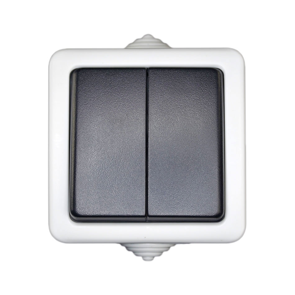 Doppel Feuchtraum Schalter Serienschalter Lichtschalter Stromschalter IP44 Neu
