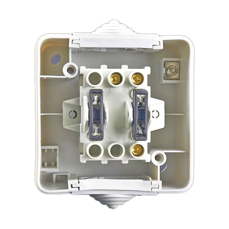2 wege schalter aufputzschalter treppenschalter feuchtraumschalter lichtschalter ebay. Black Bedroom Furniture Sets. Home Design Ideas