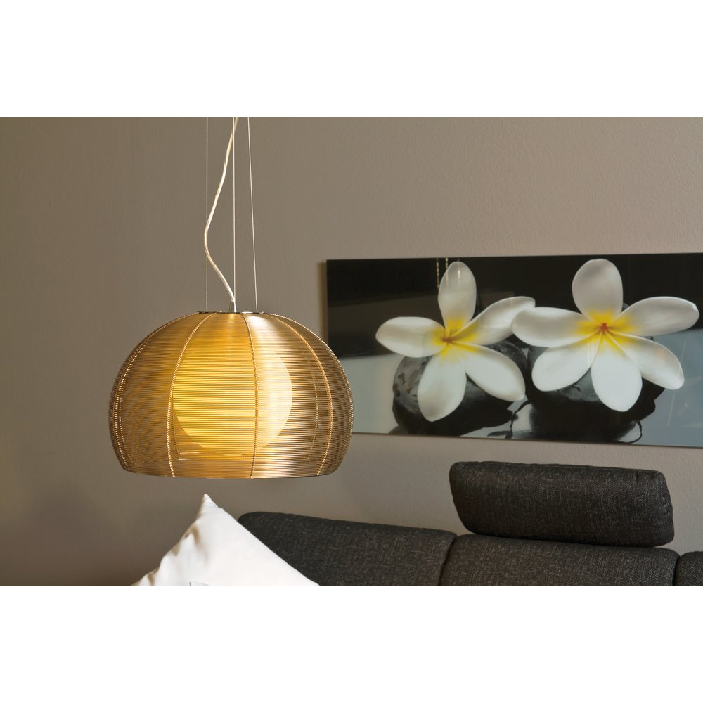 pendelleuchte h ngelampe tischbeleuchtung aluminiumdraht glas gold rund ebay. Black Bedroom Furniture Sets. Home Design Ideas