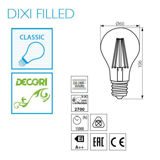 6 Watt LED Lampe, Filament, E27 Sockel, warmweiss, LED Birne - 2