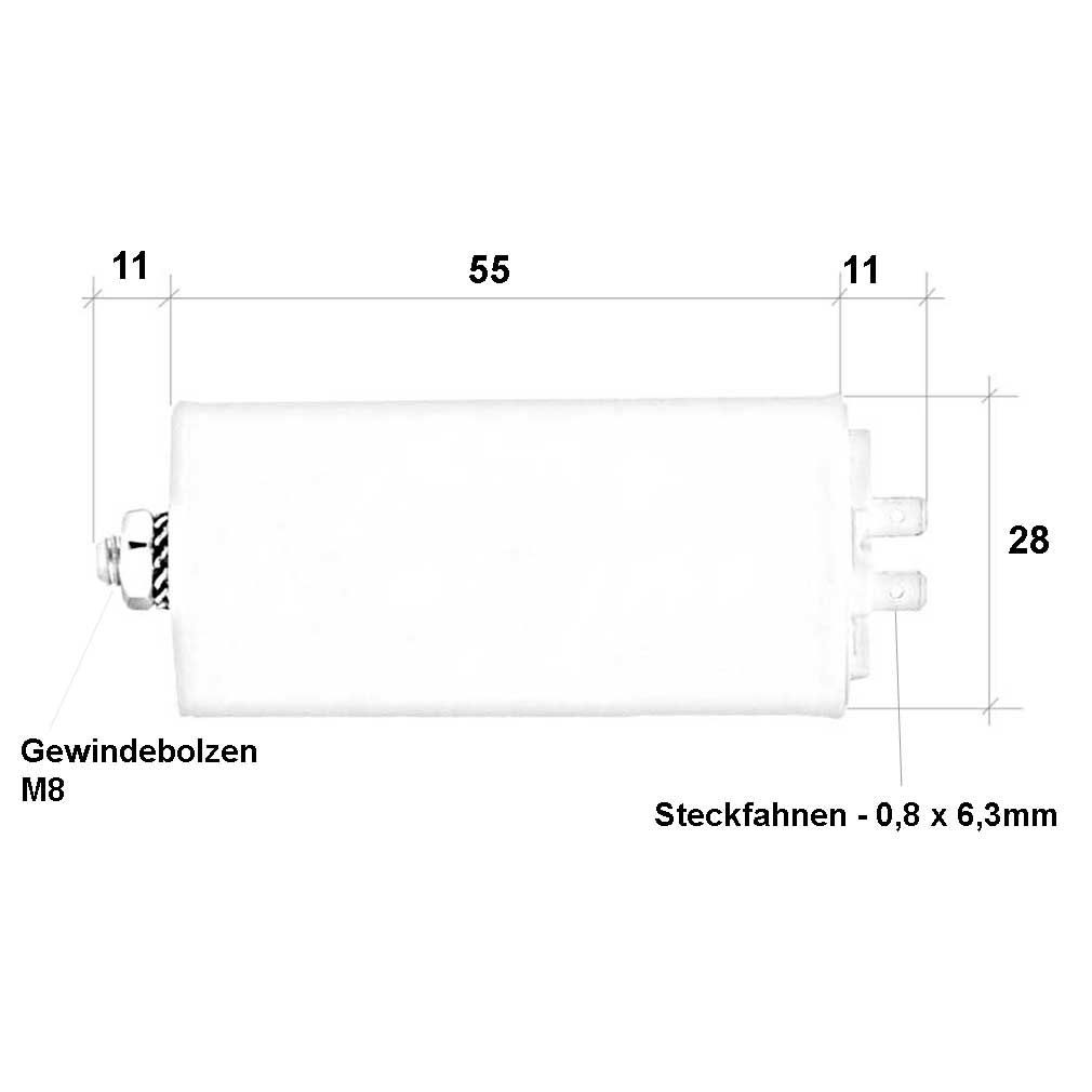5 uF Motorkondensator Betriebskondensator 5 µF Steckanschluss Kondensator - 4
