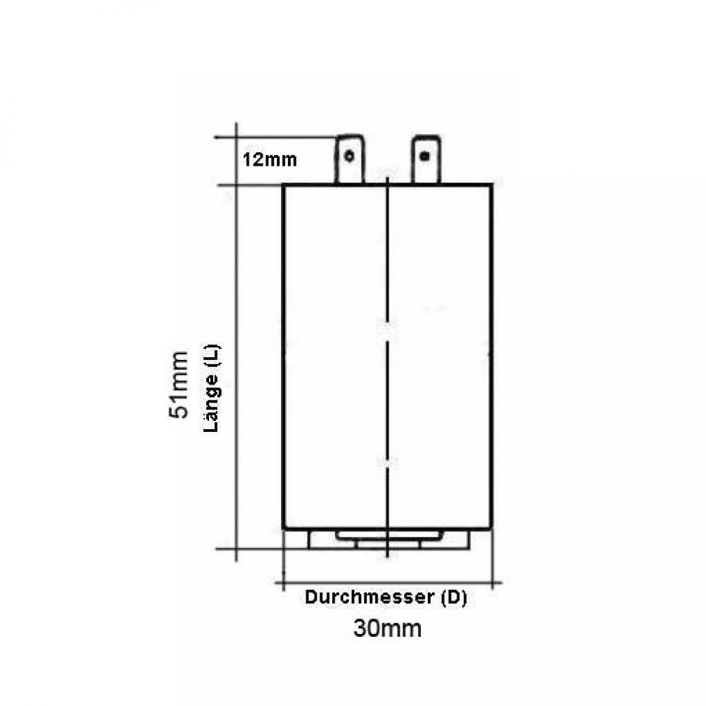 6 uF Motorkondensator Betriebskondensator 6 µF Steckanschluss Kondensator - 2