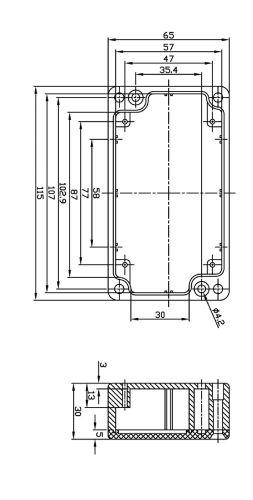 Alu Spritzguss Gehäuse, Aluminiumgehäuse, Platinengehäuse, LED Gehäuse 65x115x30mm - 4