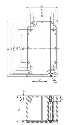 Alu Spritzguss Gehäuse, Aluminiumgehäuse, Platinengehäuse, LED Gehäuse 65x115x55mm - 6
