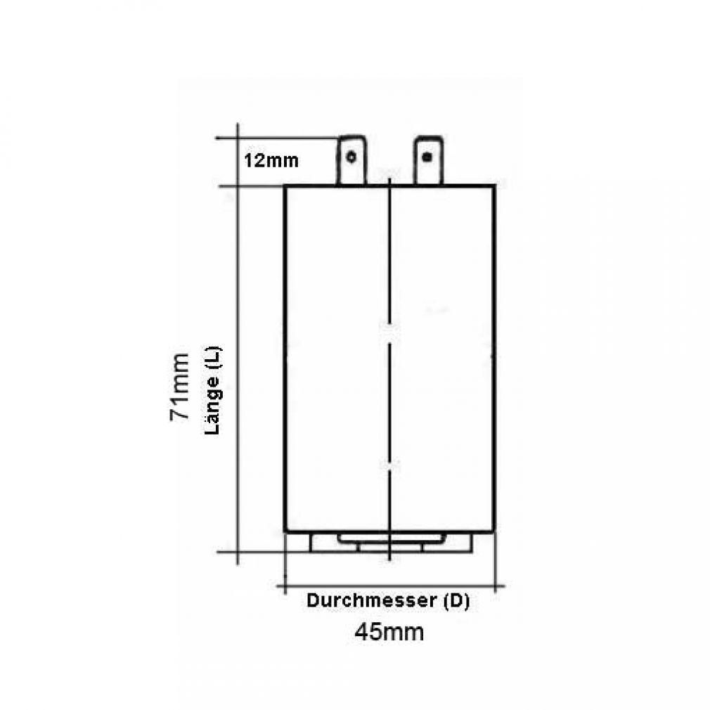 25 uF Motorkondensator Betriebskondensator 25 mF Steckanschluss Kondensator - 2