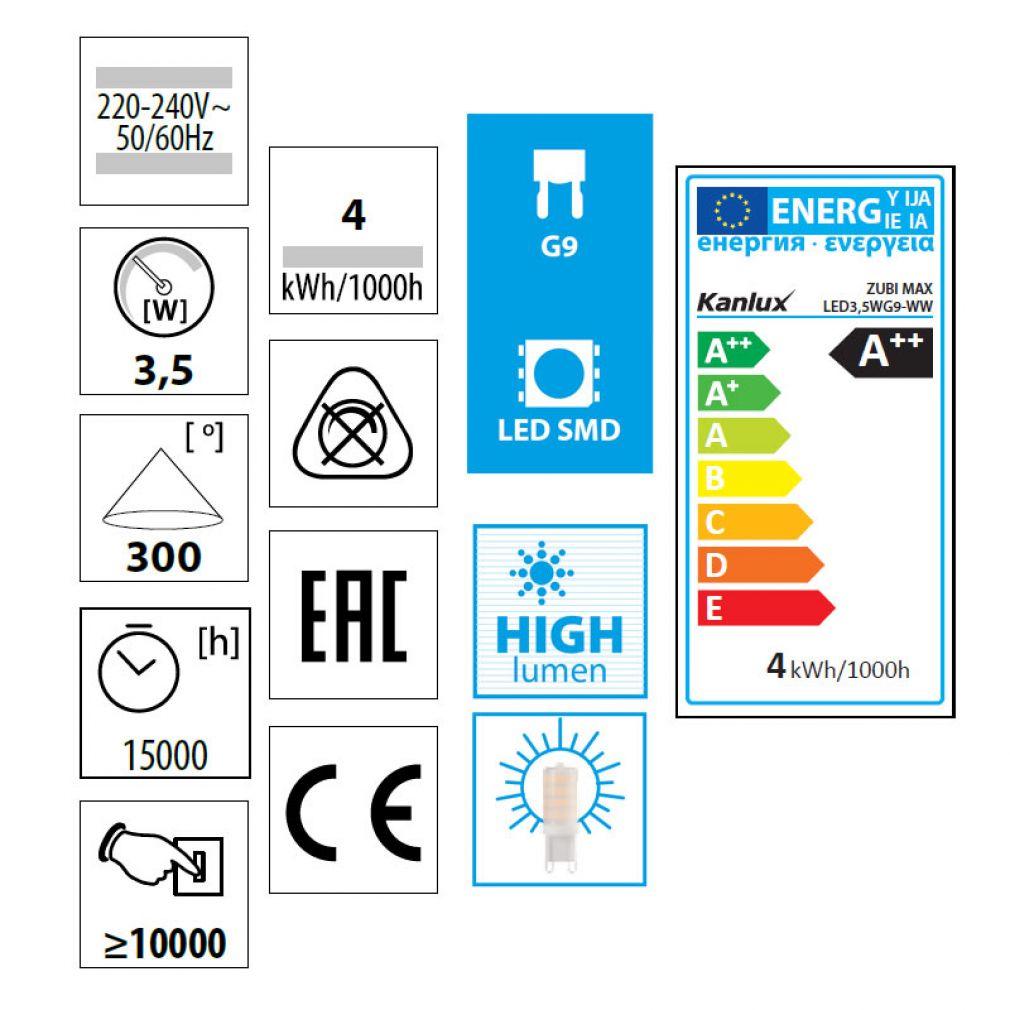 3,5 Watt LED Lampe, ZUBI MAX LED 3,5W Sockel G9 warmweiss, 400lm - 3