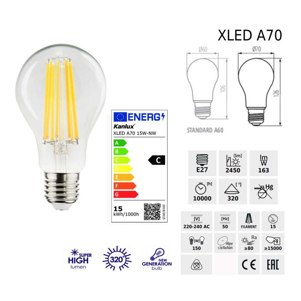 15 Watt LED Filament Lampe E27 neutralweiss 4000 Kelvin XLED A70 - 3