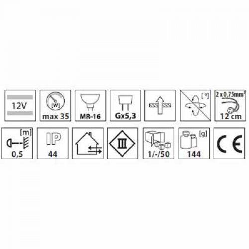 Halogen/LED Feuchtraum Einbaurahmen MR-16, Gx5,3 - Chrom - 8