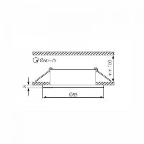 Halogen/LED Feuchtraum Einbaurahmen MR-16, Gx5,3 - satinnickel - 4