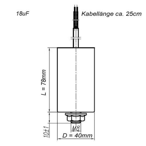 18 uF Betriebskondensator Motorkondensator Kondensator 18.0µF / 450 V mit Kabel - 2
