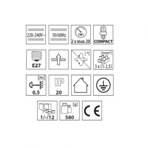 Downlight, Deckenlampe, Einbaulampe, Lampe, Einbaudownlight max. 2x20Watt E27 - 4