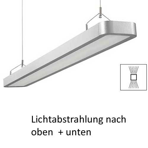deckenleuchte b rolampe h ngend 2x28w leuchtstoffr hre lampe evg silber ebay. Black Bedroom Furniture Sets. Home Design Ideas