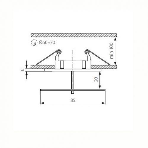 quadratischer Deckeneinbaustrahler für LED / Halogenlampen Sockel GX5.3 - 5
