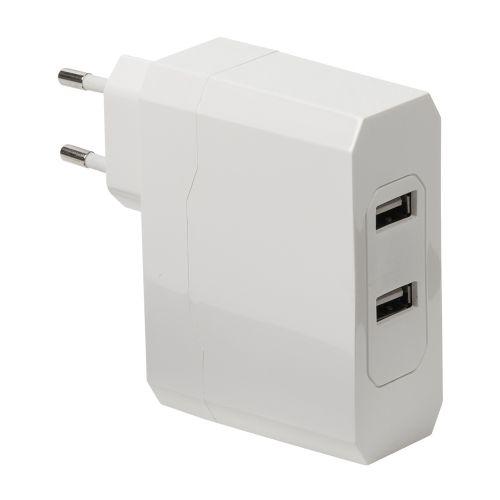 Universal USB Adapter mit zwei Anschlüssen, 2.4 A und 2.4 A, weiss - 3